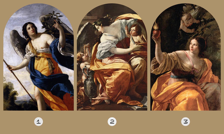↑ Сімон Вуе / 1. Алегорія чеснот / 2. Алегорія багатства / 3. Алегорія милосердя / 1634 - 1640 р.
